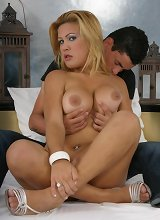 Busty blonde transexual Ellen and her lover get naked and give each other a nasty blowjob