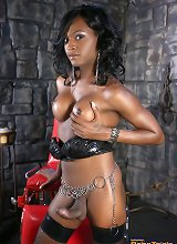 Black TS Chanel playing in the dungeon