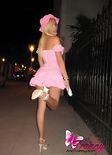 Leggy Tranny with short skirt at a costume party